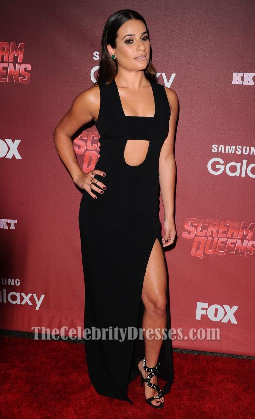 Lea Michele Black Cut Out Evening Dress Scream Queens La