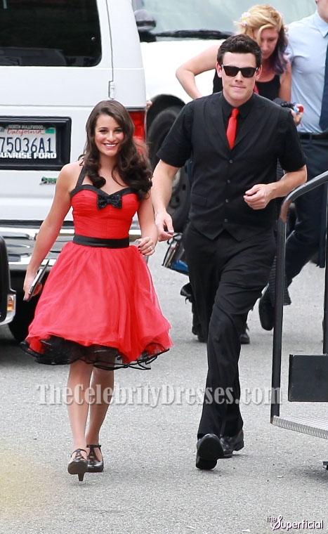 Lea Michele Red Short Halter Cocktail Dress Party Dresses ...