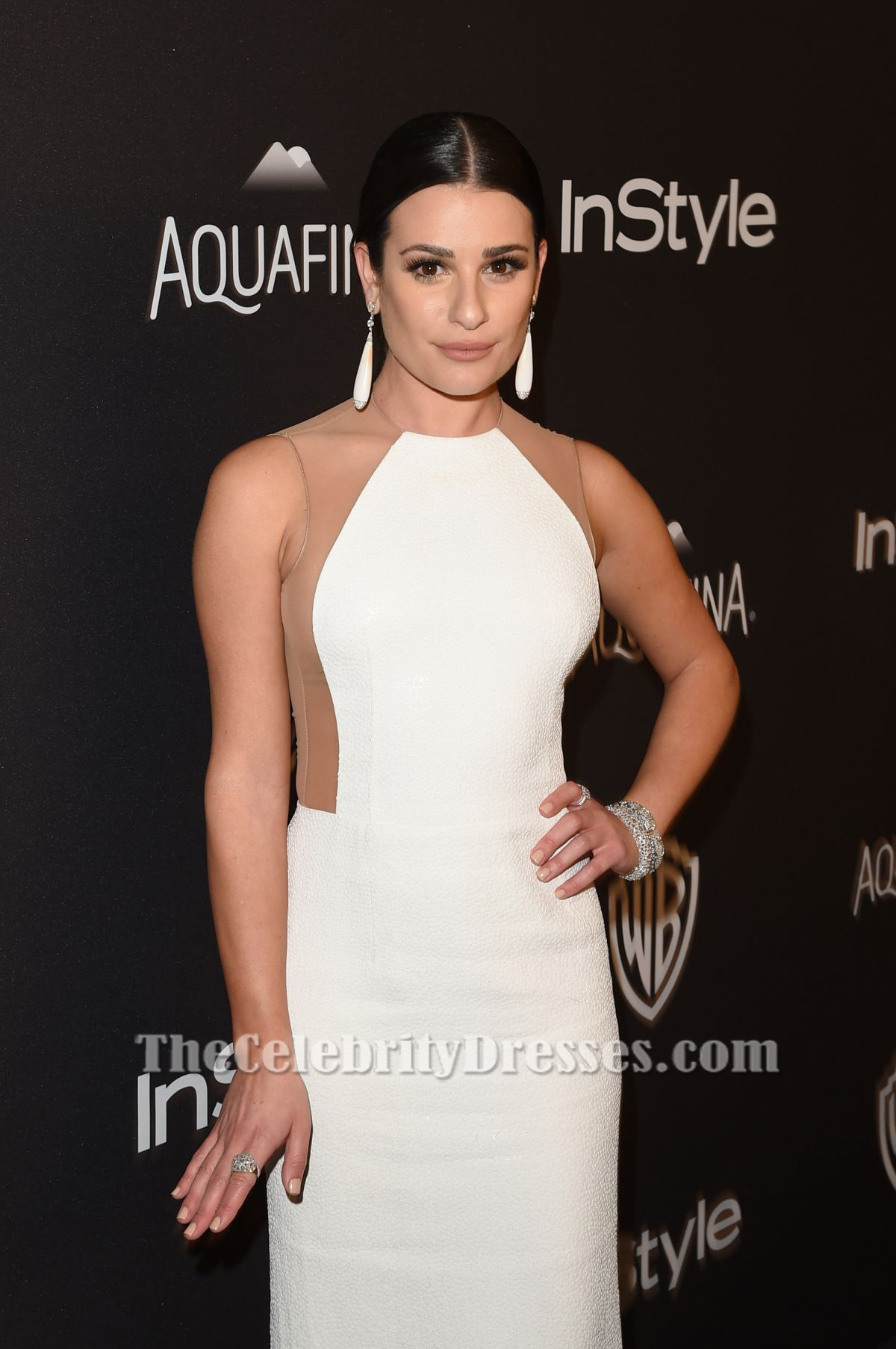 Lea Michele White Evening Gown 73rd Annual Golden Globe Awards ...