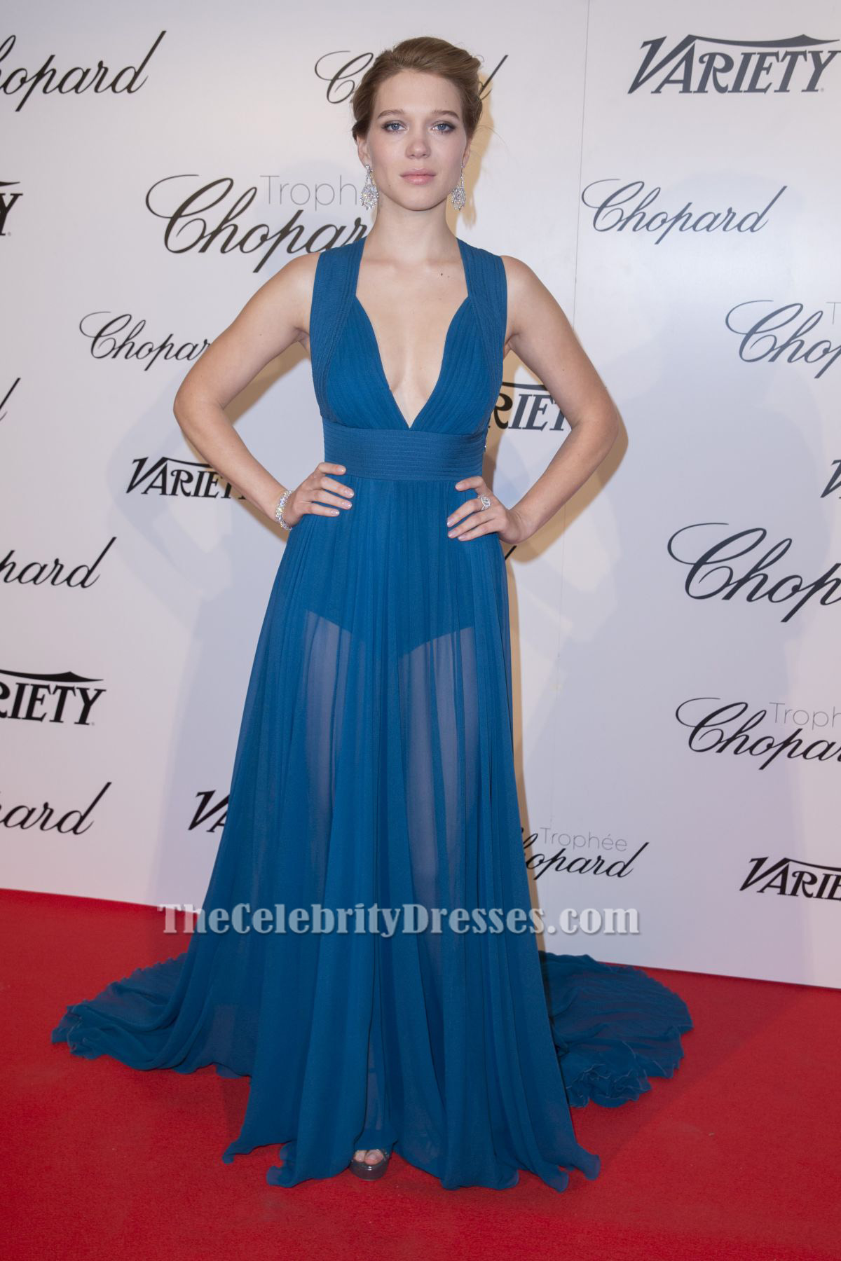 LEA SEYDOUX Sexy Blaues Abendkleid Chopard Trophäe Party ...