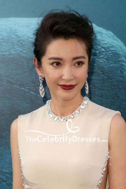Li Bingbing Dark Ivory Cut Out Mermaid Beaded Evening