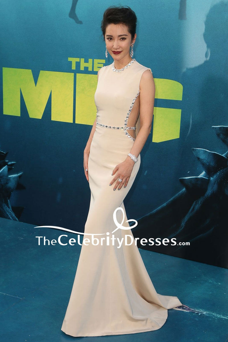 Li Bingbing Dark Ivory Cut Out Mermaid Beaded Evening