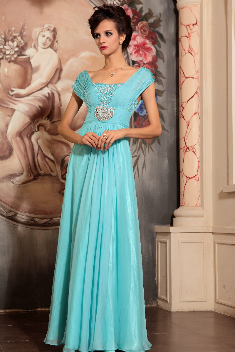 Light Sky Blue Beaded Formal Dress Evening Prom Gown ...