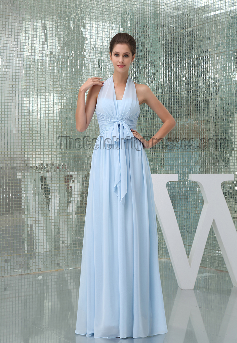 Light Sky Blue Halter Floor Length Prom Gown Evening Dress ...