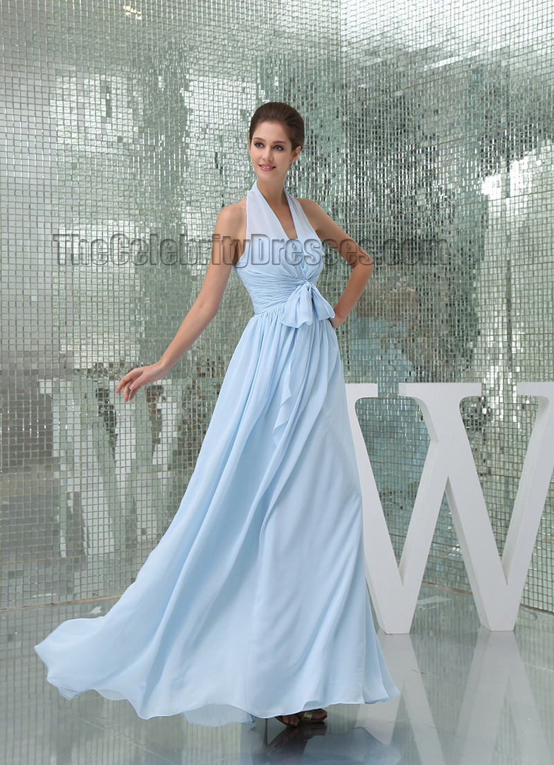 Light Sky Blue Halter Floor Length Prom Gown Evening Dress - TheCelebrityDresses