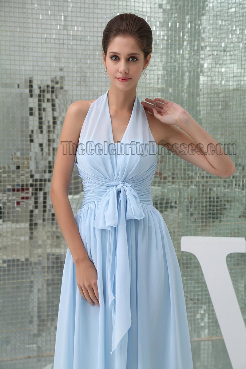 Light Sky Blue Halter Floor Length Prom Gown Evening Dress ...