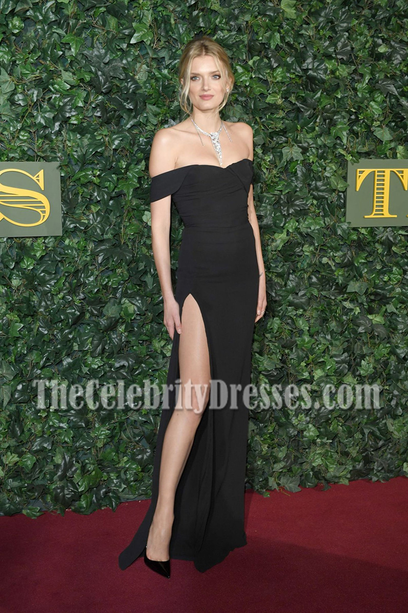 Lily Donaldson Black Off-the-shoulder Evening Prom Gown London ...