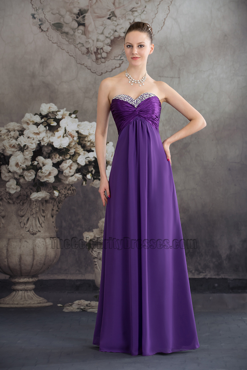 Long Purple Strapless Chiffon Bridesmaid Evening Prom Dresses ...