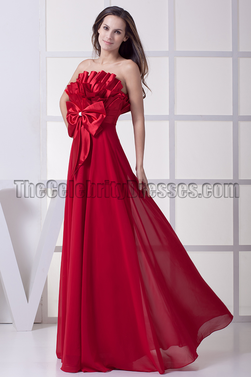 Long Red Strapless Evening Formal Dress Prom Gown - TheCelebrityDresses