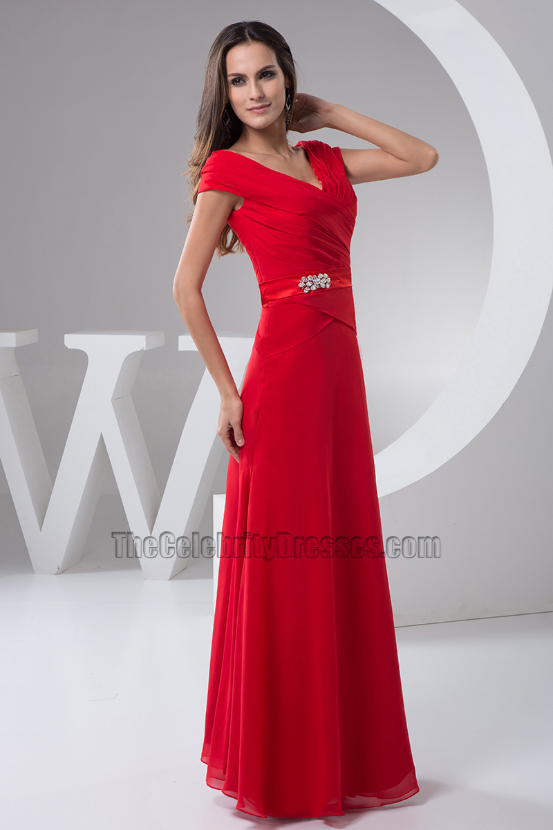 Long Red V Neck Cap Sleeves Formal Gown Evening Prom Dresses
