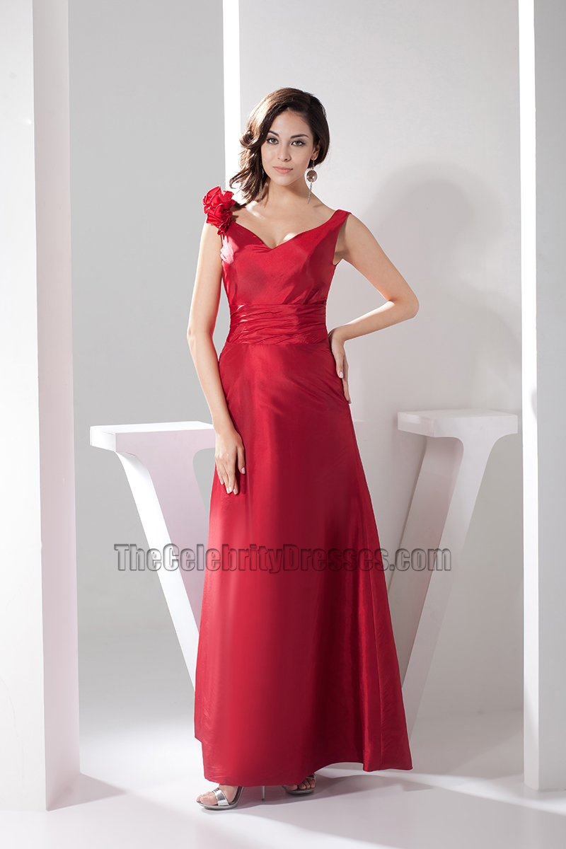 Long Red V-Neck Evening Gown Prom Dresses - TheCelebrityDresses