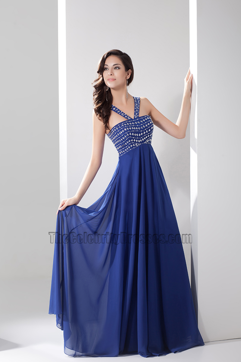 Floor Length Royal Blue Beaded Bridesmaid Prom Dresses - TheCelebrityDresses