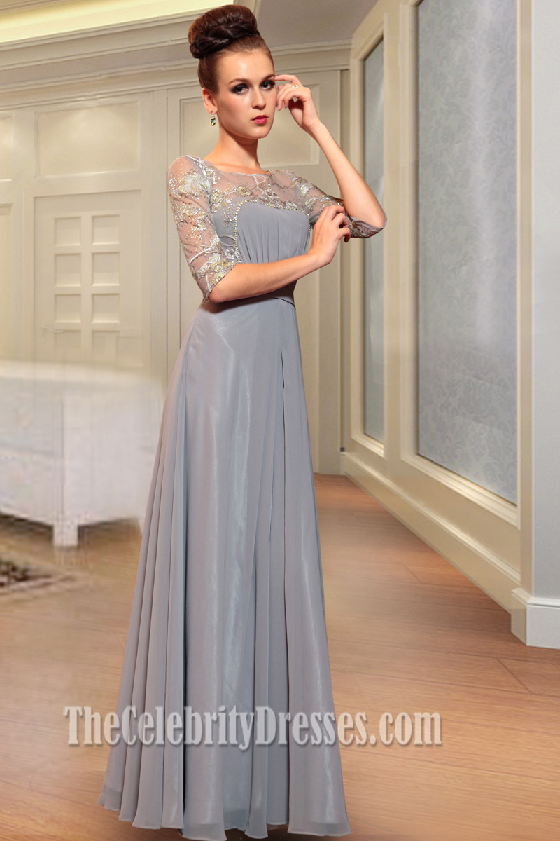 Long Silver Chiffon Beaded Prom Dress Formal Gown - TheCelebrityDresses
