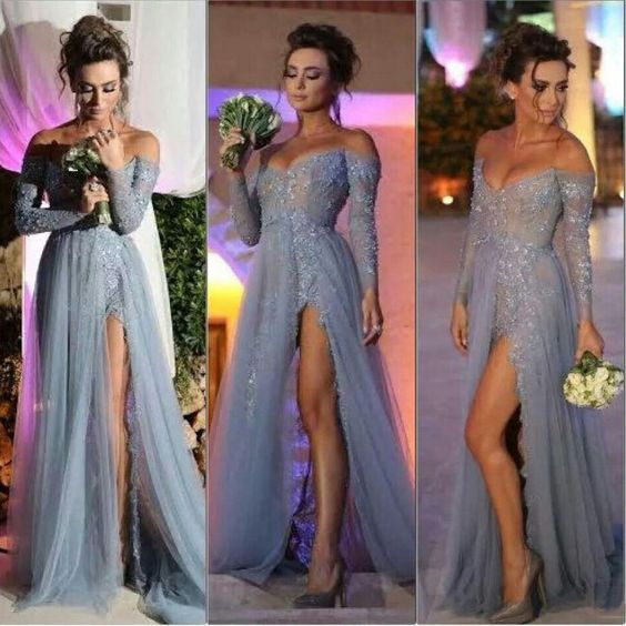 Long Sleeve Off Shoulder Tulle Lace Prom Evening Dress With Side