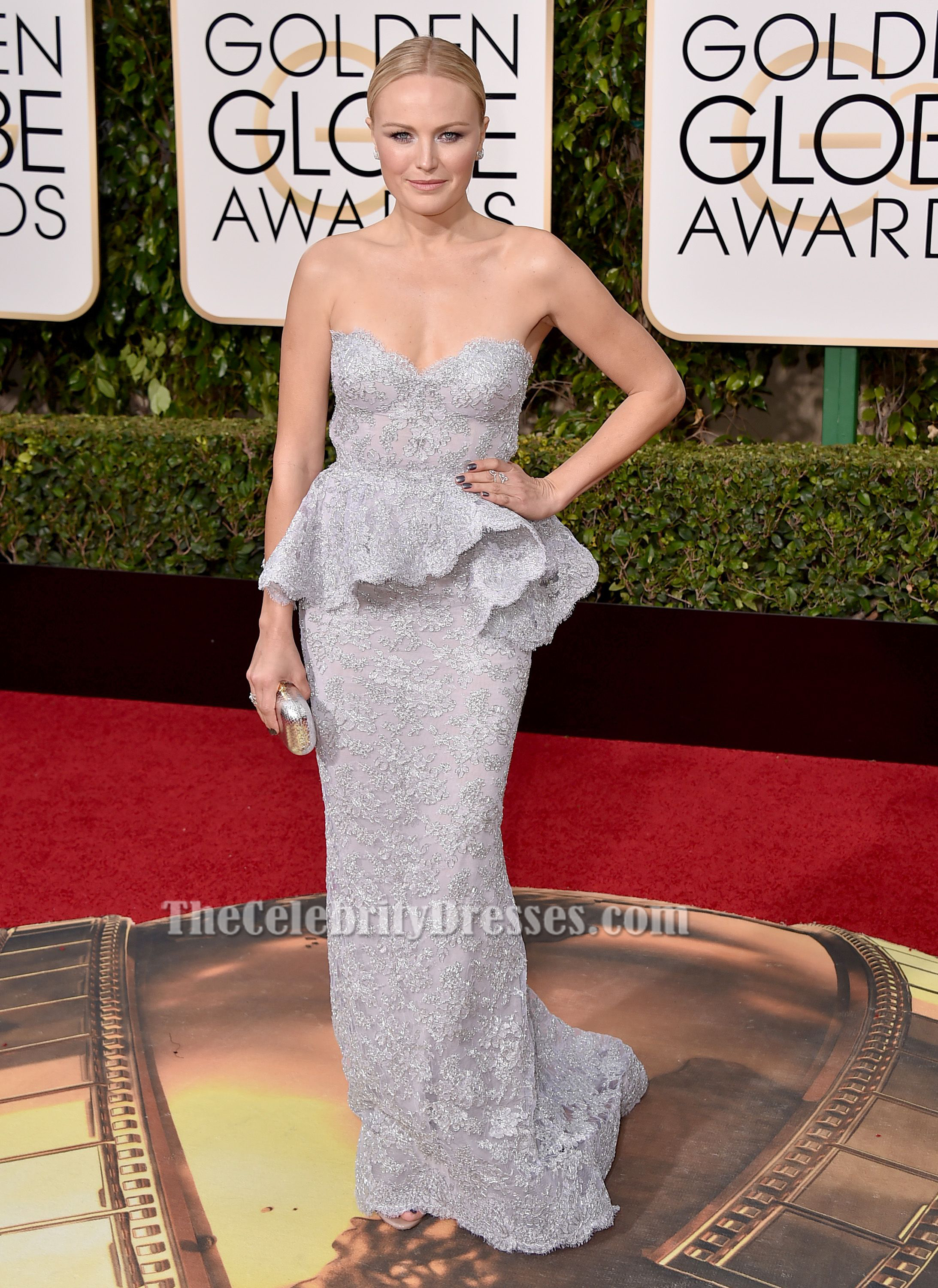 Celebs Named Emily Malin Akerman Silver Lace Evening Dress Golden Globes
