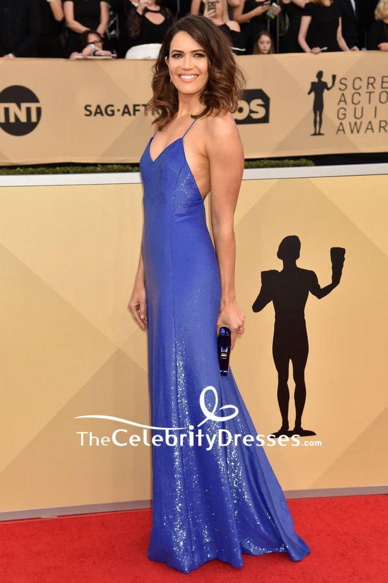 cfa4d2f97bf9 Mandy Moore Royal Blue Spaghetti Strap Sequin Evening Dress 2018 SAG Awards  Red Carpet Gown - TheCelebrityDresses