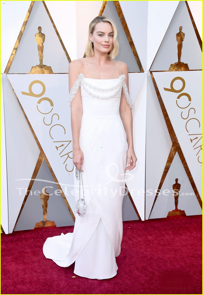 Margot Robbie 2018 Oscars Red Carpet White Formal Dress Evening Gown ...