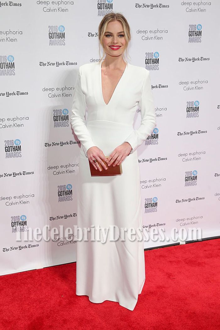 Margot Robbie White Long Sleeves V-neck Prom Gown Gotham Independent Film Awards ...