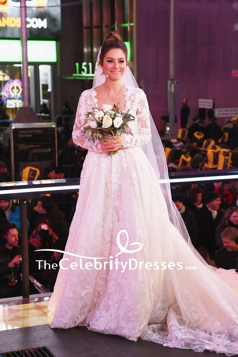 Maria Menounos White Lace Wedding Dress With Long Sleeves Live From Times Square Show Thecelebritydresses: Gentlemen Prefer Blondes Wedding Dress At Websimilar.org