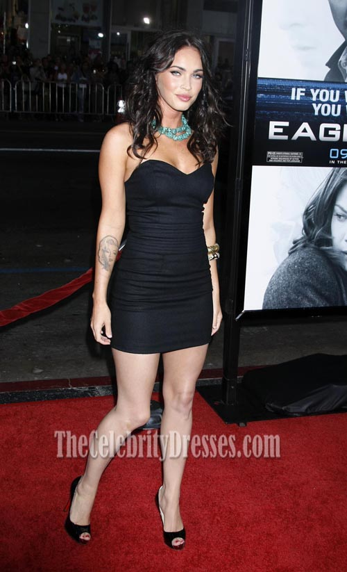 Megan fox little black dress eagle eye premiere red carpet dresses thecelebritydresses - Black and white red carpet dresses ...