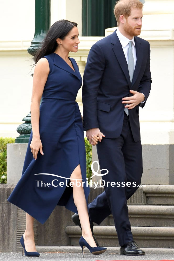Meghan Markle Navy Blue Tea Length Dress In Royal Tour