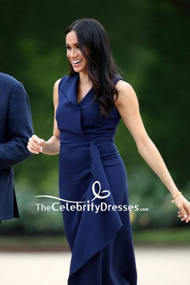 Meghan Markle Navy Blue Tea Length Dress In Royal Tour Thecelebritydresses