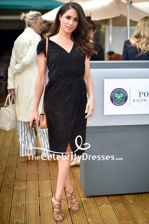 Meghan Markle Velvet Simple Form-fitting Little Black Dress - TheCelebrityDresses