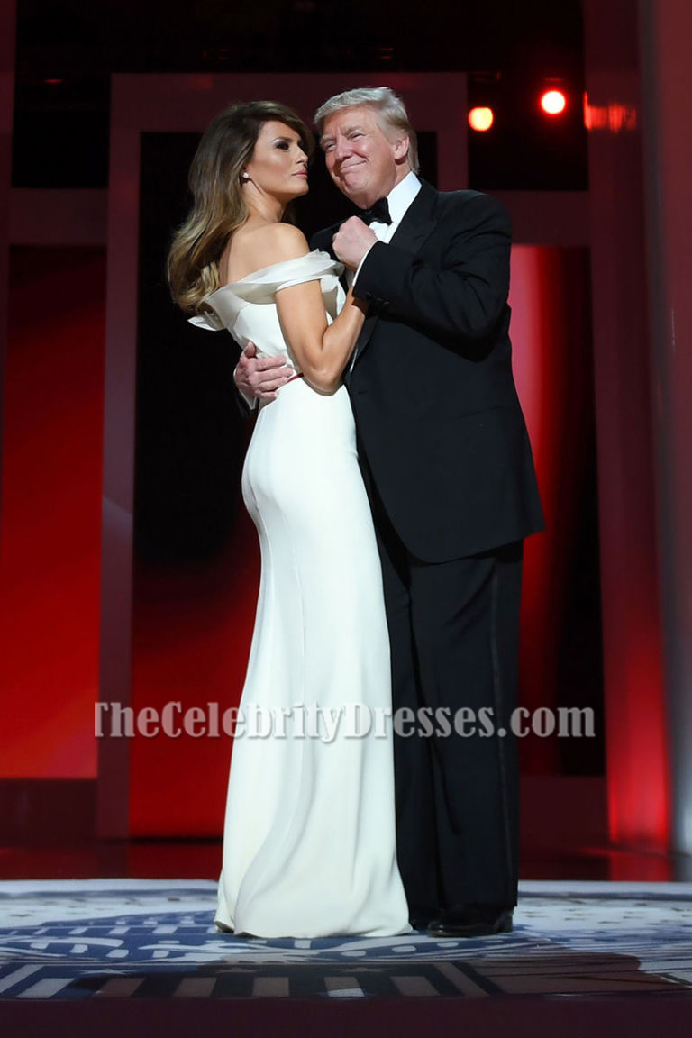 Melania Trump Elegant White Off-the-Shoulder Formal Dress Inaugural ...