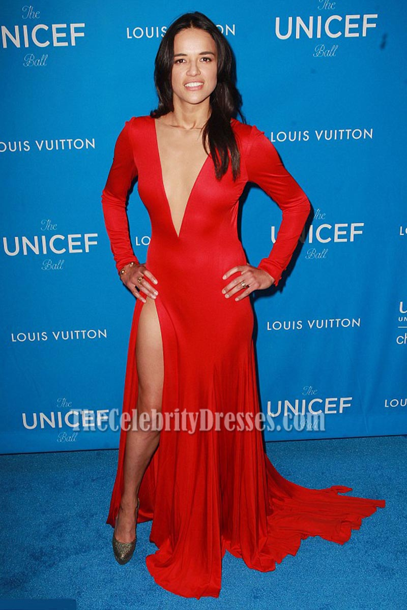 Michelle Rodriguez Red Long Sleeves Deep V Backless Evening Prom ...