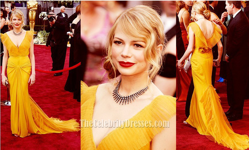 Michelle Williams Yellow Prom Gown Formal Evening Dress ...