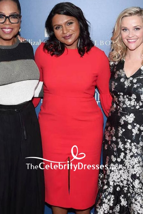 Mindy Kaling Red Cocktail Dress With Long Sleeves NYC screening of A ...