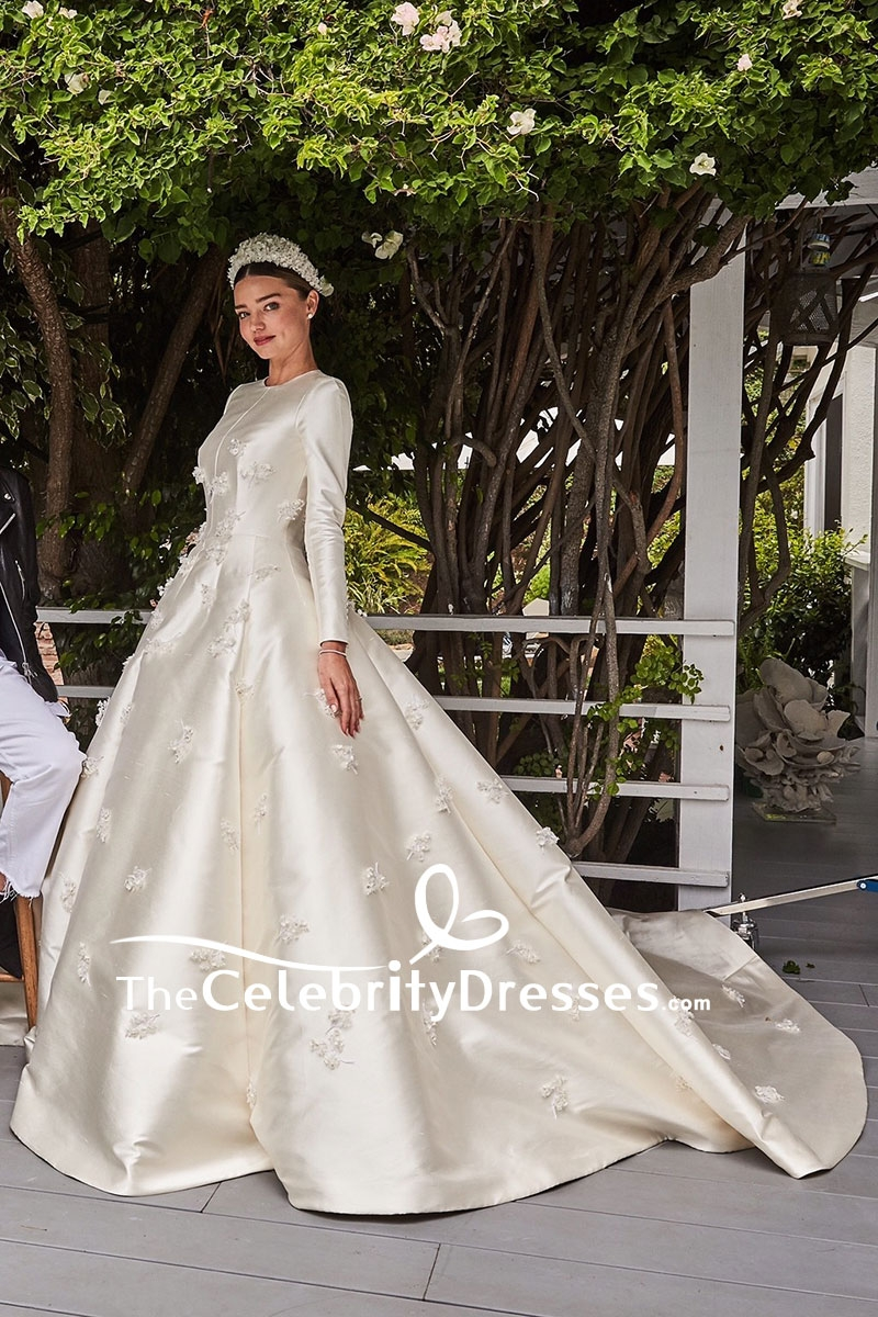 Miranda Kerr Elfenbein bestickt Brautkleid mit langen Ärmeln ...