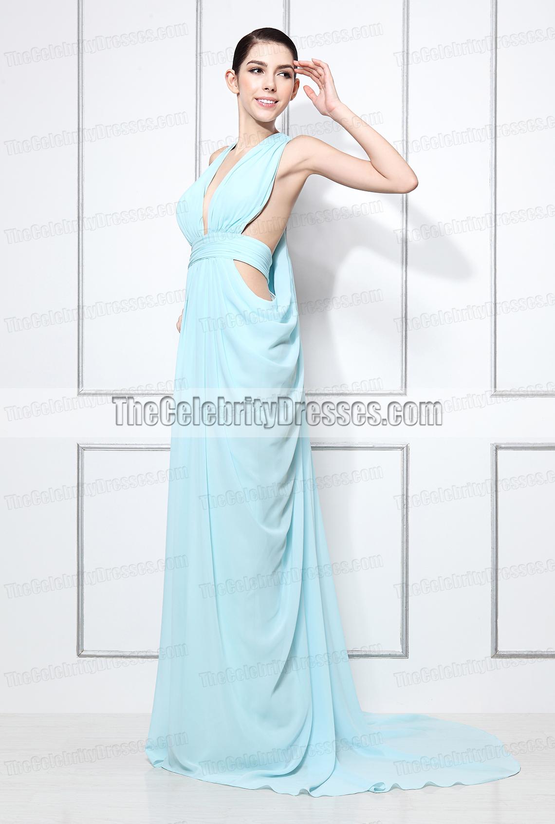 Miranda Kerr Light Blue Halter Prom Evening Dress 2012 Women of ...