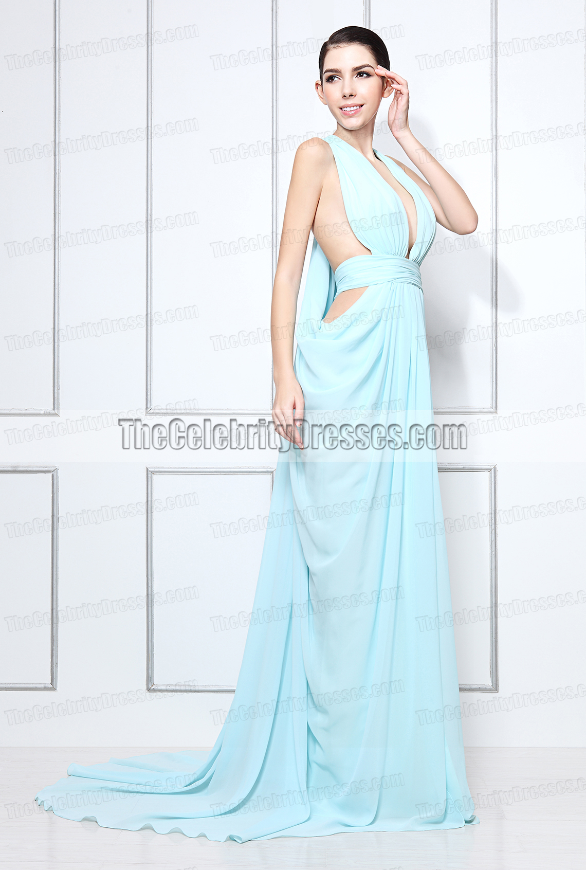 Miranda Kerr Light Blue Halter Prom Evening Dress 2012 Women of ...