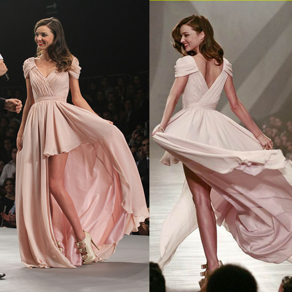 Miranda Kerr Hits the Runway Mexico City Hi-low Prom Gown Evening Dress - TheCelebrityDresses  sc 1 st  Celebrity Dresses : light pink high low dress - www.canuckmediamonitor.org