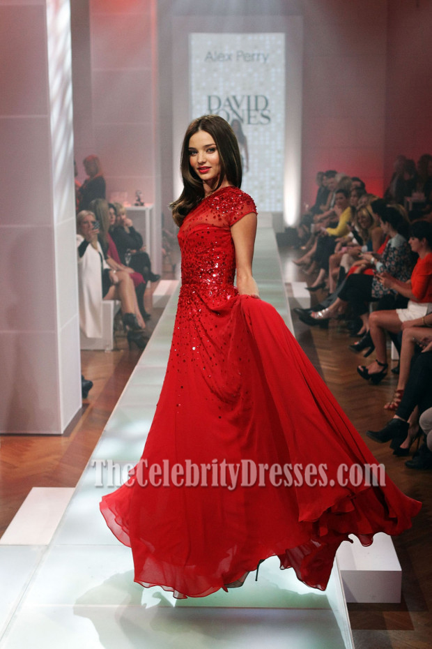 Miranda Kerr Red Sequined One Shoulder Prom Evening Dresses