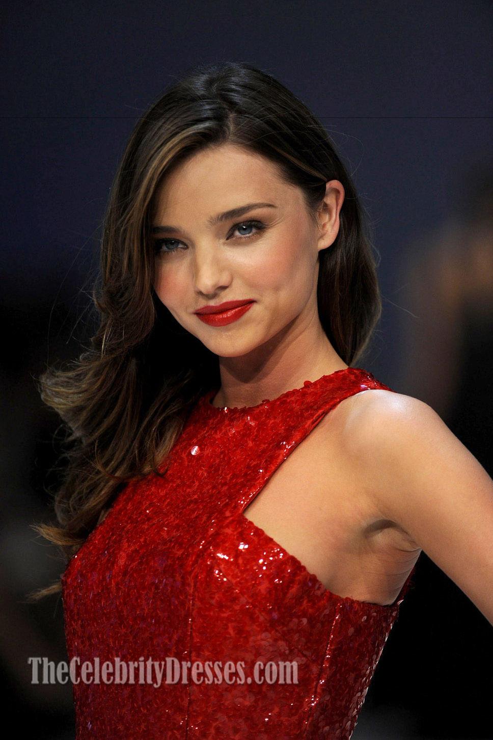 56c371167d Miranda Kerr Red Sequined Prom Dress Chiffon Skirt Evening Dresses