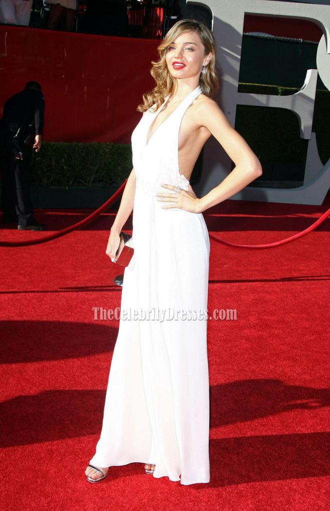Miranda Kerr White Halter Prom Dress 2009 Espy Awards Red