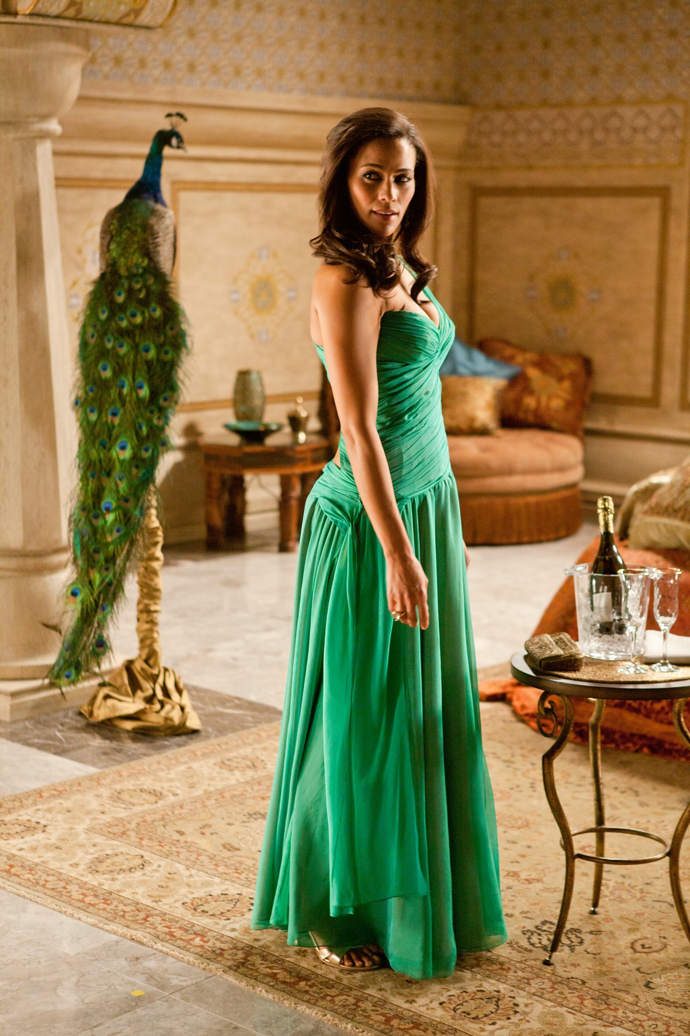 Paula Patton Green Evening Dress in Movie Mission ...