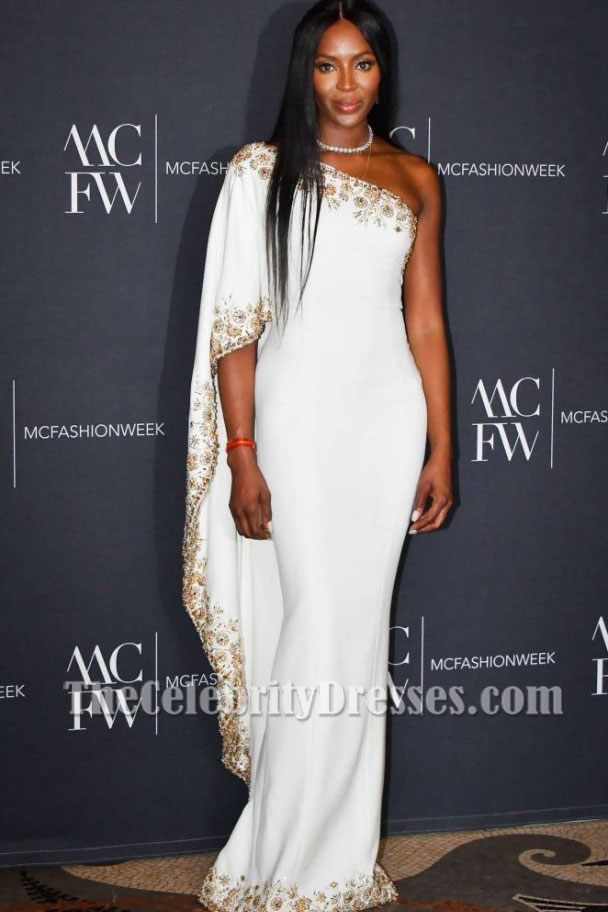 Naomi Campbell Luxury White Beaded One-shoulder Evening Dress 2017 ...