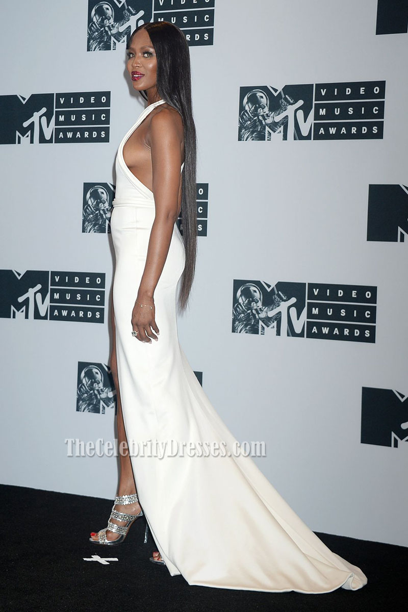 Naomi Campbell White One Shoulder Evening Prom Dress 2016 MTV Video ...