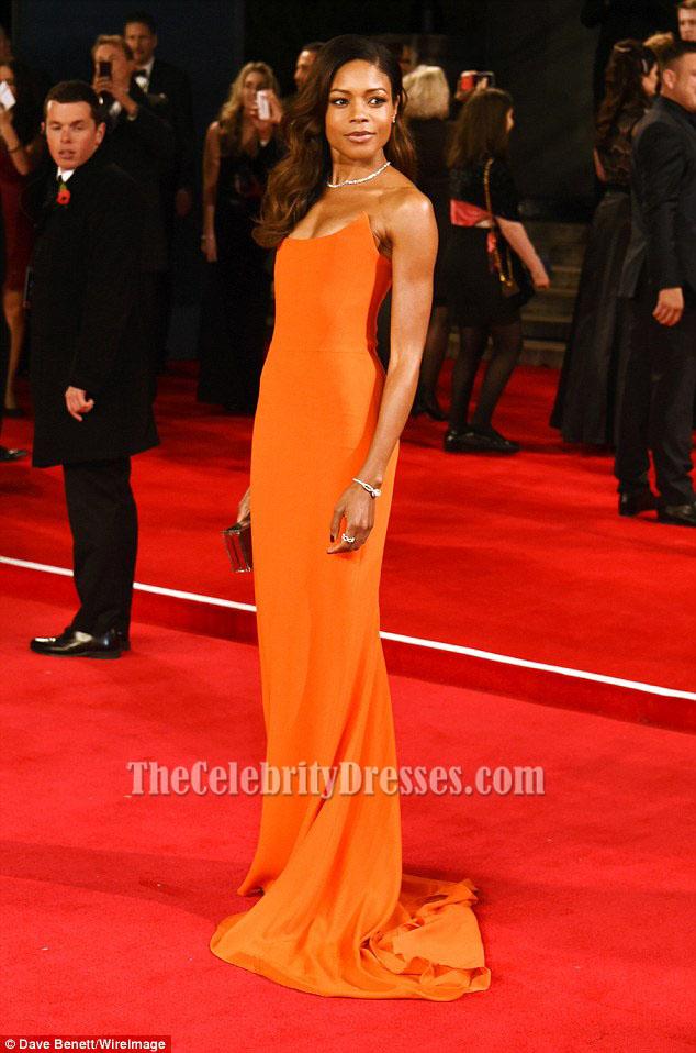 Naomie Harris Orange Strapless Evening Gown \'Spectre\' London ...