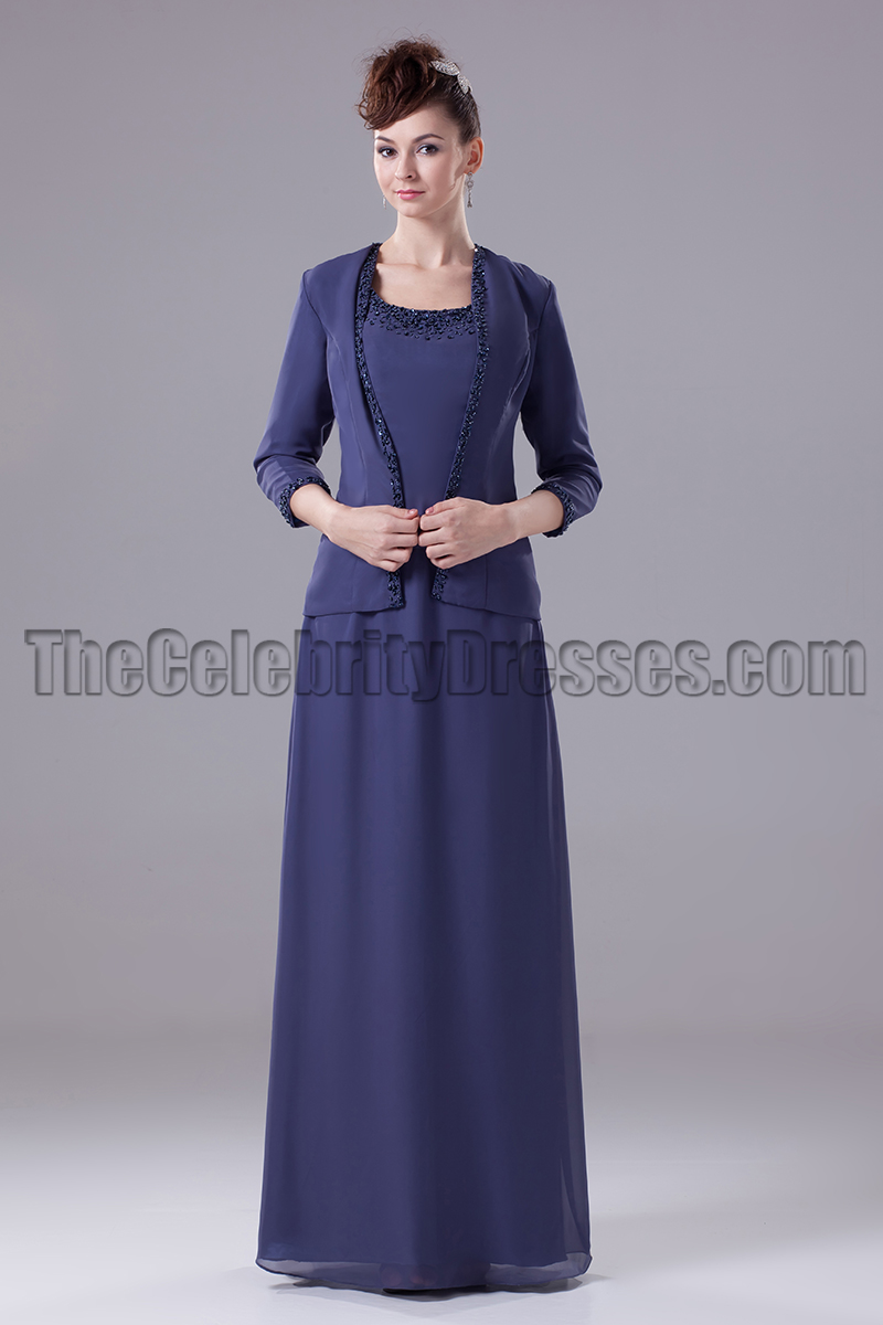 Navy Blue Chiffon Formal Mother Of The