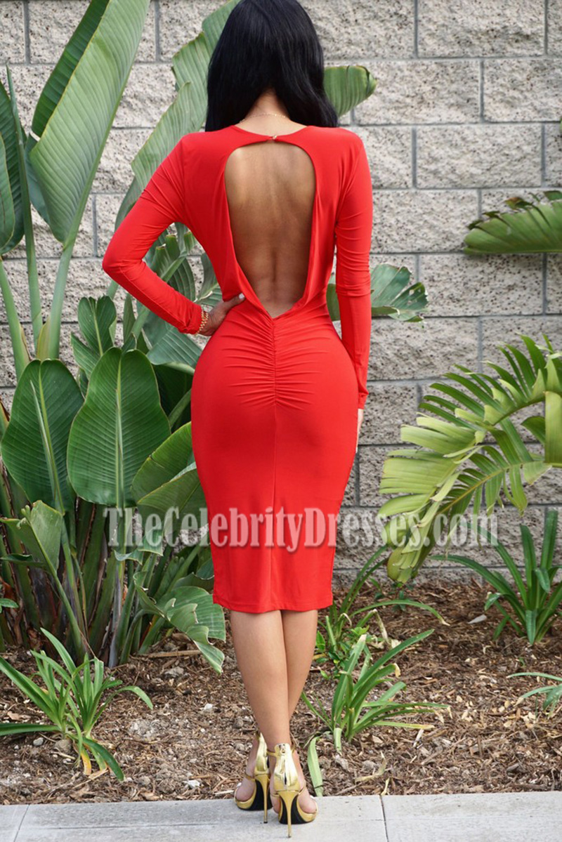 4494d6f389 New Sexy Red Deep V-neck Bandage Dress Long Sleeves Party Dress -  TheCelebrityDresses