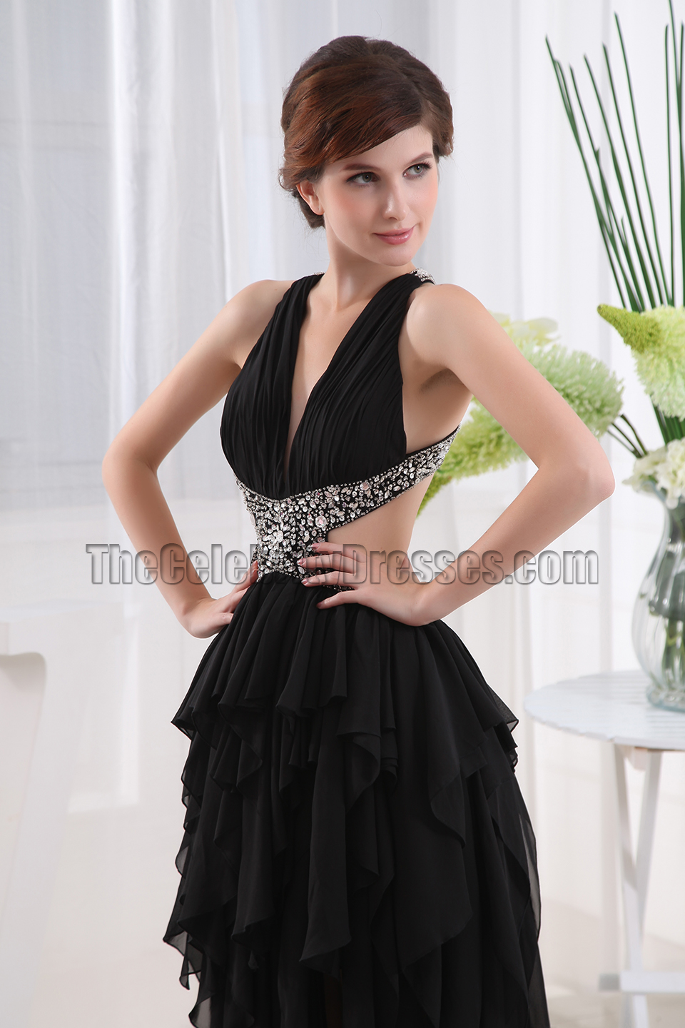 Black Backless High Low Prom Dress Evening Gown - TheCelebrityDresses