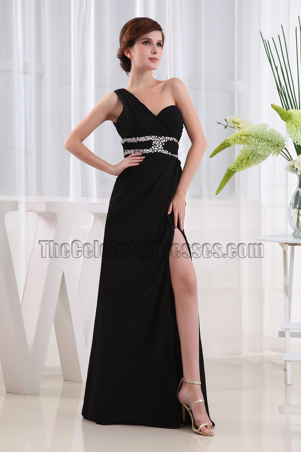 Black Backless One Shoulder Evening Gowns Pageant Prom Dresses ...