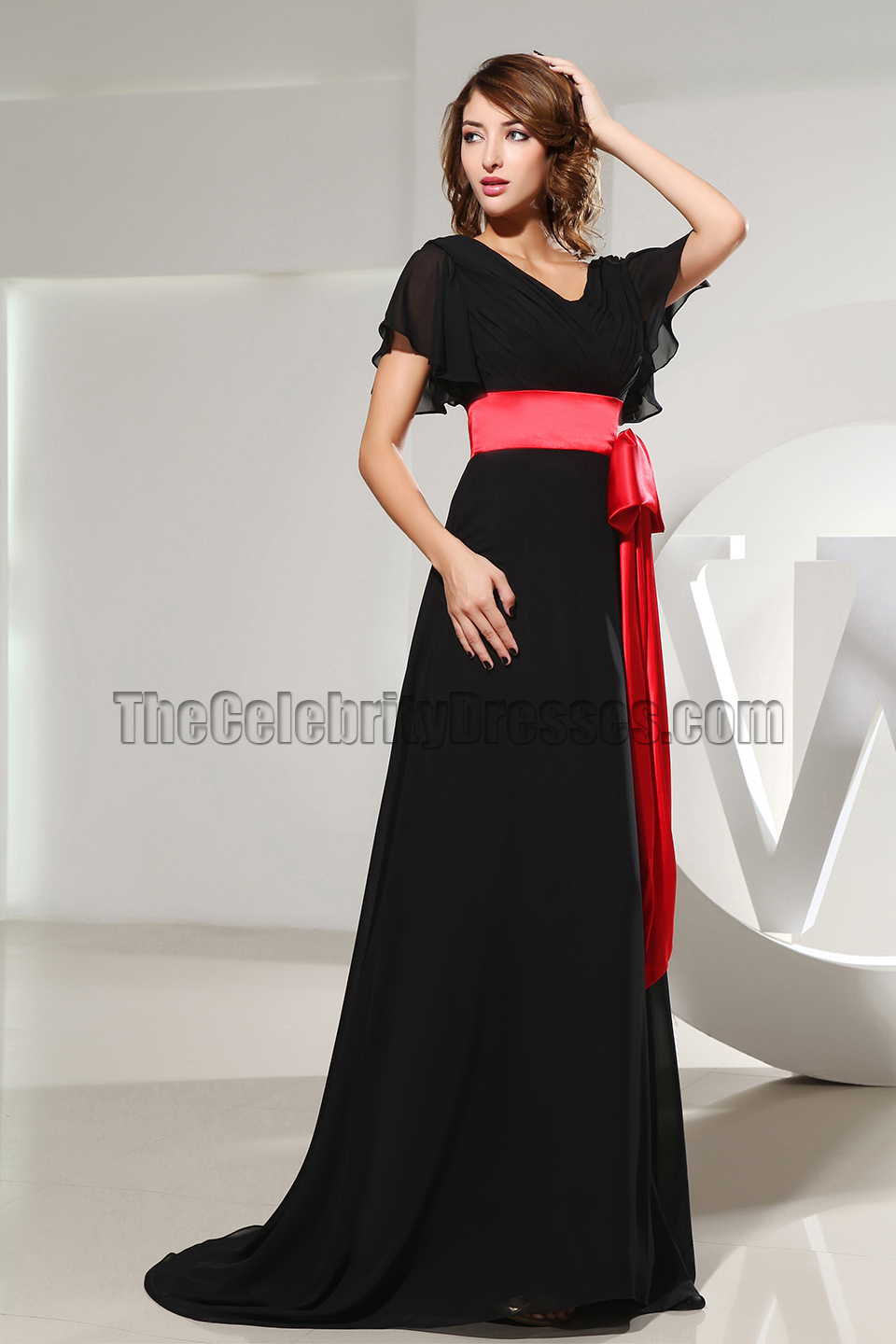 d2924c3a6d New Style Black V Neck Prom Evening Dresses With Red Belt