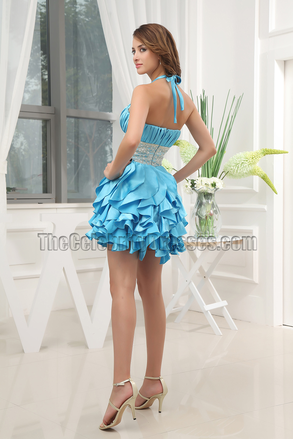 Gorgeous Blue Beaded Mini Party Homecoming Dresses - TheCelebrityDresses