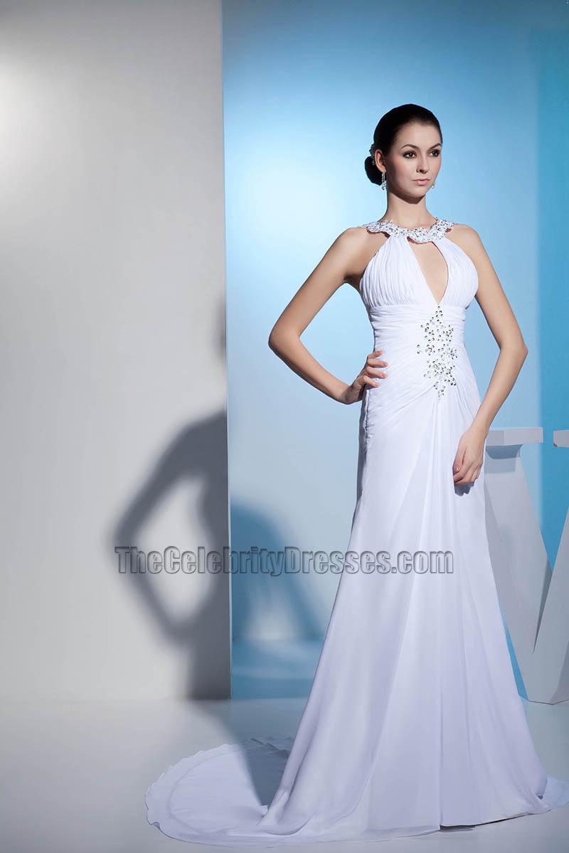 New Style Chiffon Chapel Train Wedding Dress With Beadwork ...
