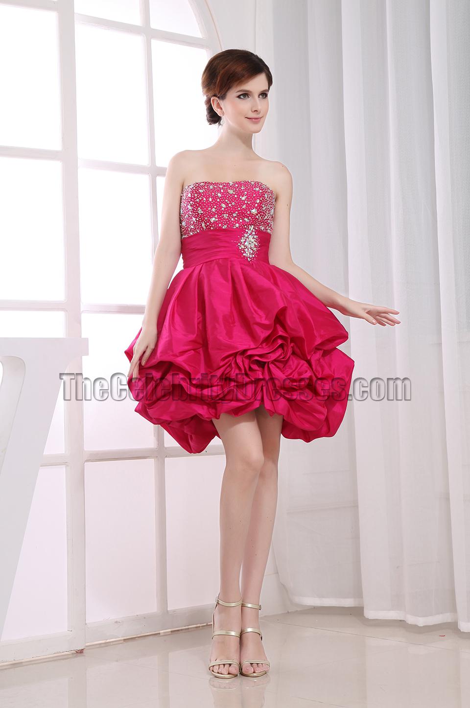 Cute A-Line Fuchsia Homecoming Graduation Party Dresses ...